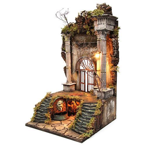 Ambientazione presepe napoletano ingresso palazzo con fontana 70x40x40 cm 2