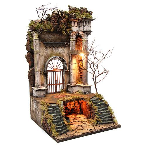 Ambientazione presepe napoletano ingresso palazzo con fontana 70x40x40 cm 3