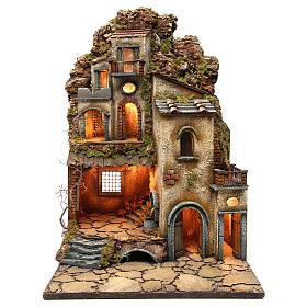 Presépio Napolitano: Casa com fontanário e luzes para presépio 7050x50 cm em estilo napolitano '700