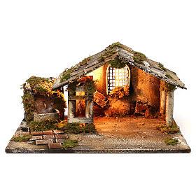 Hütte mit Brunnen und Licht 25x45x30cm neapolitanische Krippe s1