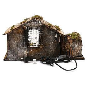 Hütte mit Brunnen und Licht 25x45x30cm neapolitanische Krippe s4