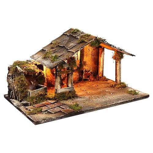 Hütte mit Brunnen und Licht 25x45x30cm neapolitanische Krippe 3