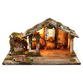 Cabana com fontanário e luzinha para presépio napolitano 25x45x30 cm s1