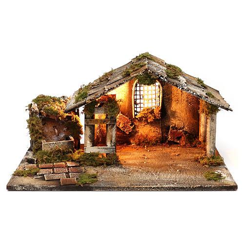 Illuminated stable with fountain for Neapolitan Nativity Scene 26x47x30 cm 1