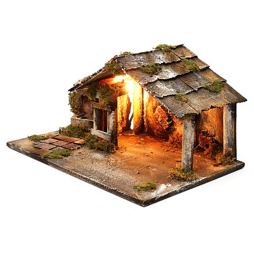Illuminated stable with fountain for Neapolitan Nativity Scene 26x47x30 cm 2