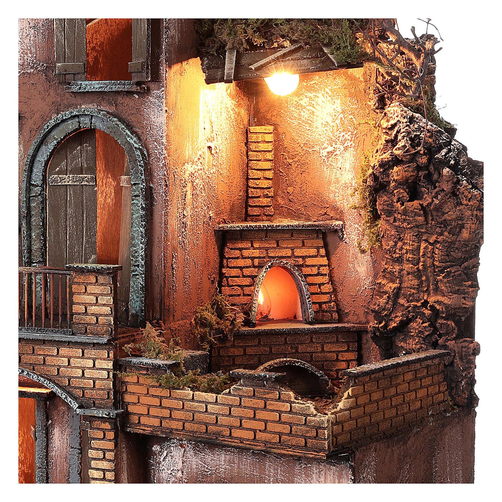 Casolare con forno e terrazze per presepe 80x50x50 cm stile napoletano del 700 4