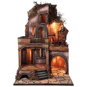Casolare con forno e terrazze per presepe 80x50x50 cm stile napoletano del 700 s1