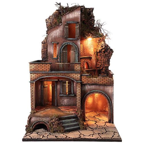 Casolare con forno e terrazze per presepe 80x50x50 cm stile napoletano del 700 1