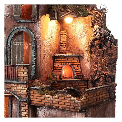 Casolare con forno e terrazze per presepe 80x50x50 cm stile napoletano del 700 3