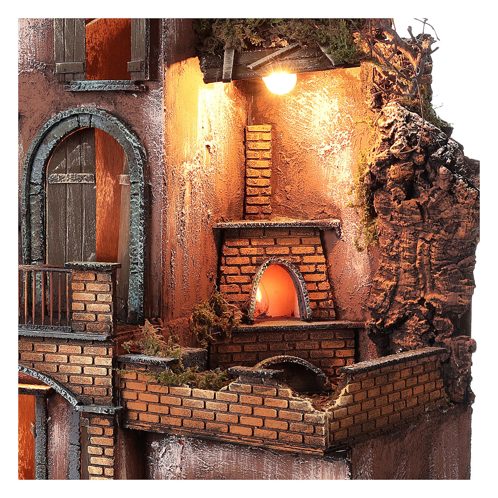 Farmhouse with fire effect oven for Nativity Scene 70x50x50 4