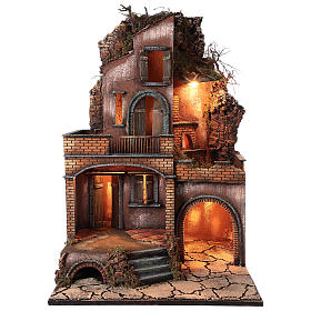 Farmhouse with fire effect oven for Nativity Scene 70x50x50 s1