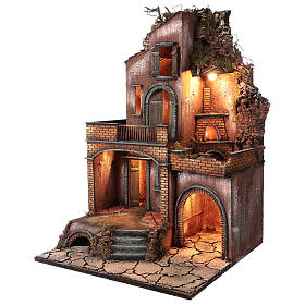 Farmhouse with fire effect oven for Nativity Scene 70x50x50 s4