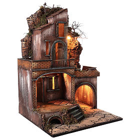 Farmhouse with fire effect oven for Nativity Scene 70x50x50 s5