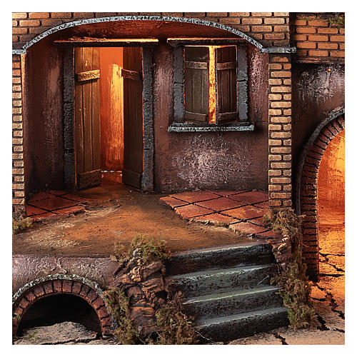 Farmhouse with fire effect oven for Nativity Scene 70x50x50 2
