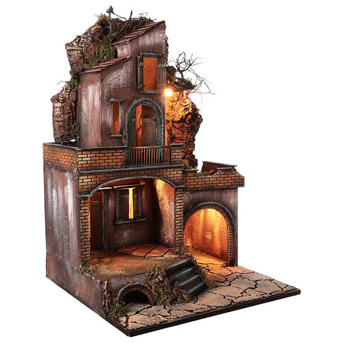 Farmhouse with fire effect oven for Nativity Scene 70x50x50 5