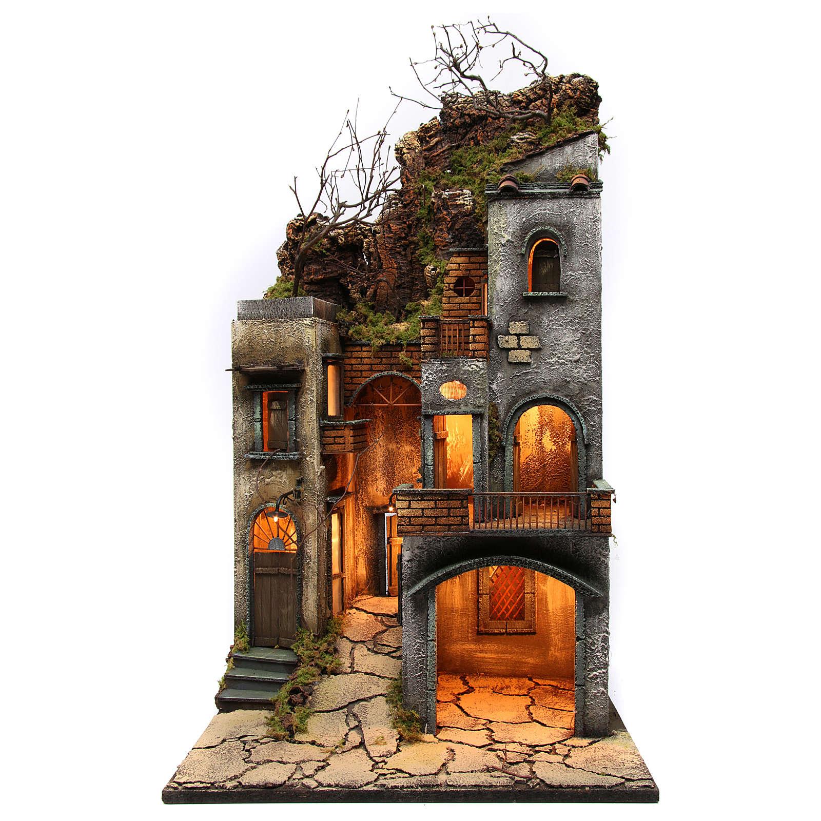Borgo per presepe 85x50x50 cm in stile napoletano del 700 4