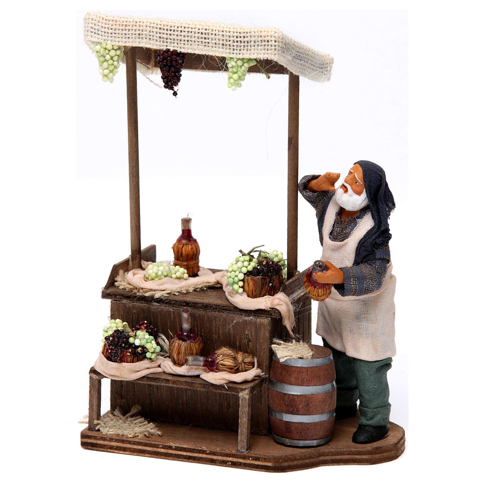Venditore uva e vino terracotta per presepe Napoletano 12 cm 4