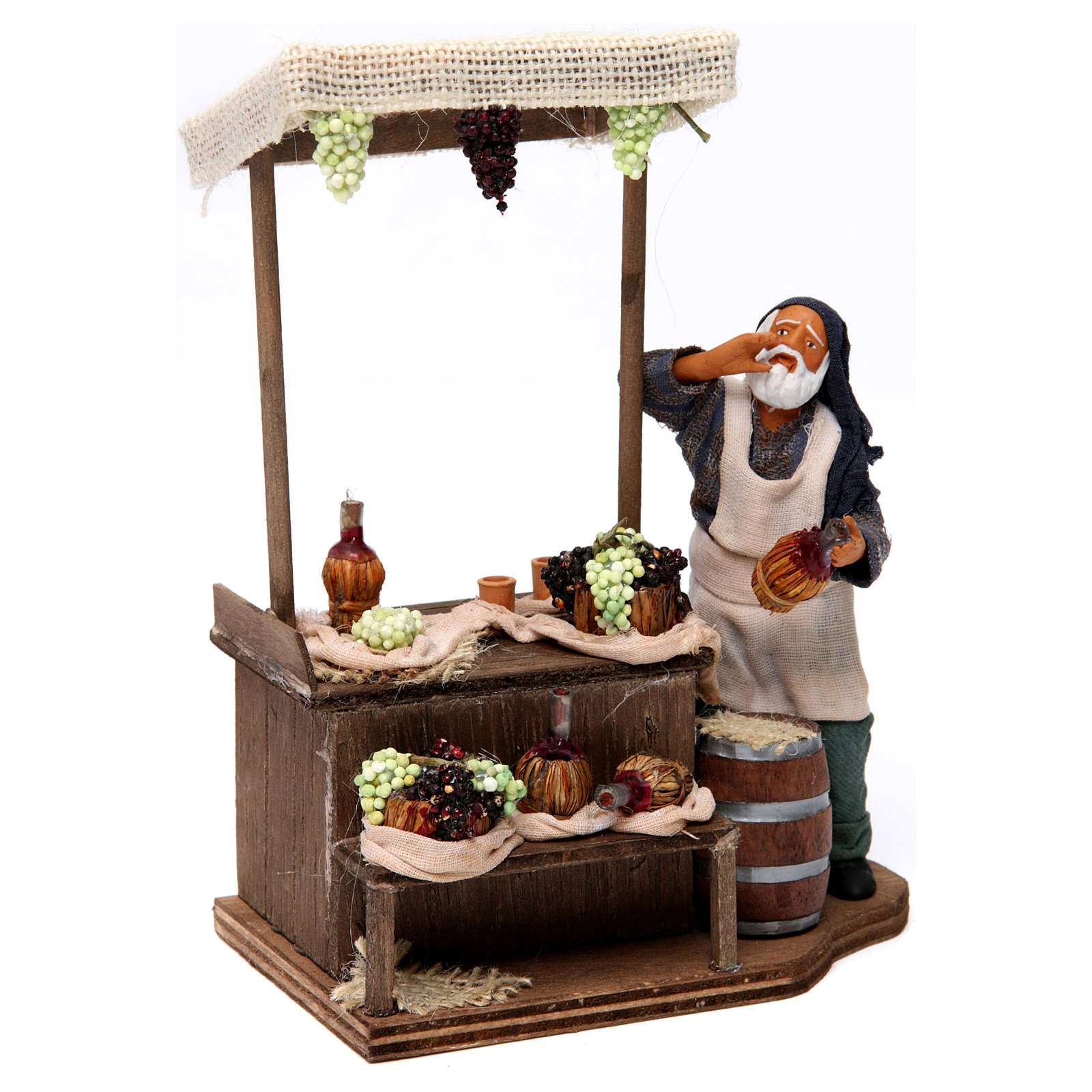 Man with wine and grapes stall Neapolitan nativity figurine 12 cm 4