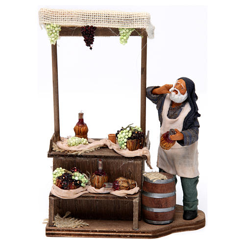 Man with wine and grapes stall Neapolitan nativity figurine 12 cm 1