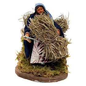 Neapolitan Nativity Scene: Moving woman with sickle and hay Neapolitan Nativity Scene 12 cm