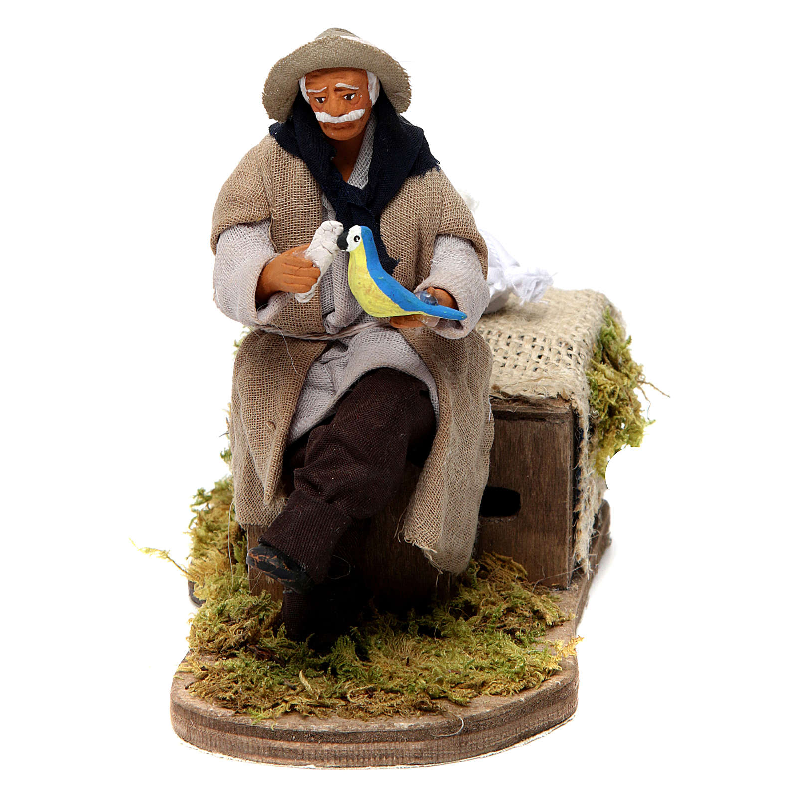Animated Neapolitan figurine 12 cm depicting a man with parrot 4