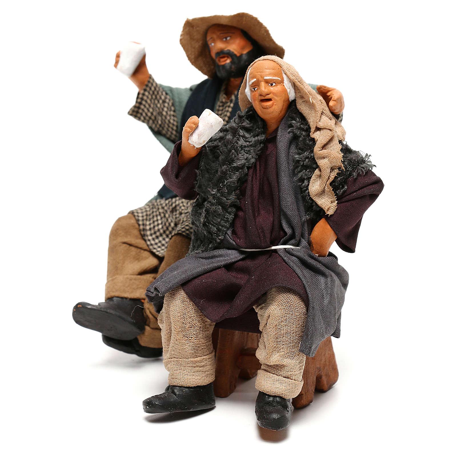 Couple of drunk men on bench Neapolitan Nativity Scene 12 cm 4