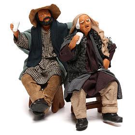 Couple of drunk men on bench Neapolitan Nativity Scene 12 cm s1