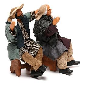 Couple of drunk men on bench Neapolitan Nativity Scene 12 cm s5