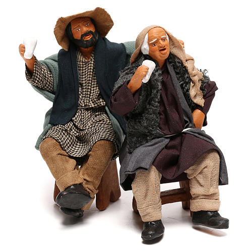 Couple of drunk men on bench Neapolitan Nativity Scene 12 cm 1