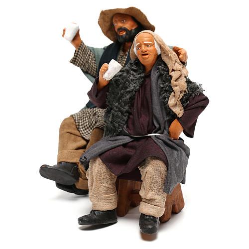 Couple of drunk men on bench Neapolitan Nativity Scene 12 cm 3