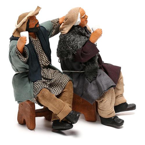 Couple of drunk men on bench Neapolitan Nativity Scene 12 cm 5