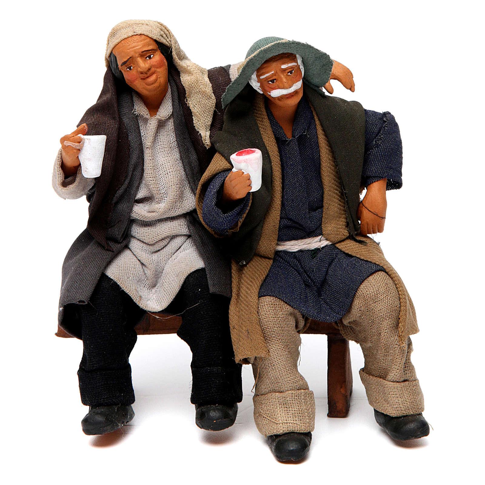 Coppia di ubriachi su panca per presepe di Napoli 12 cm 4
