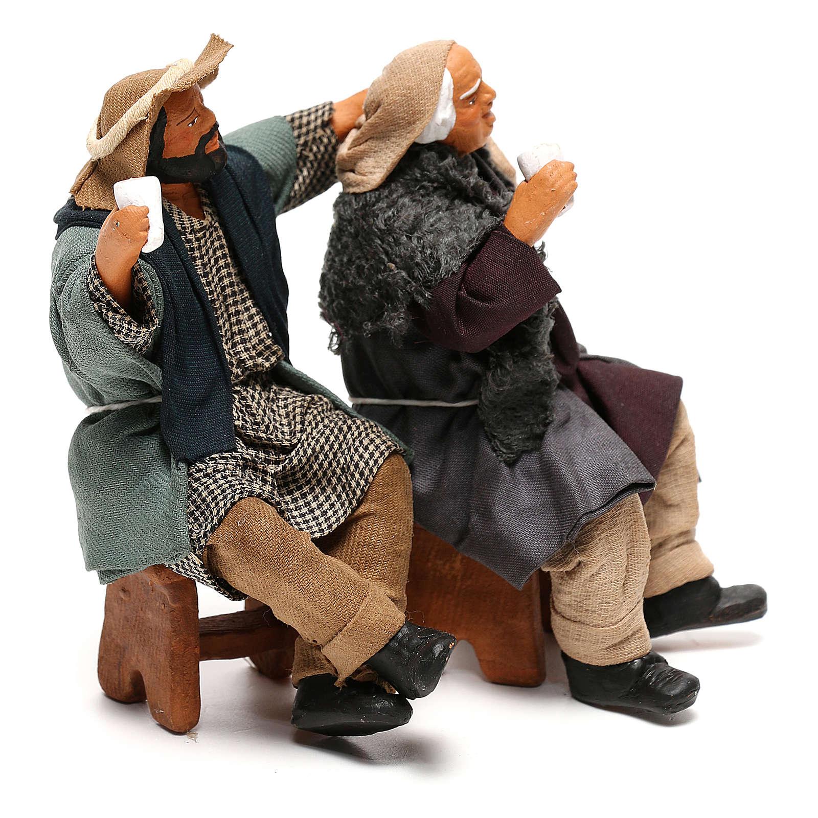 Drunk men on bench with glasses Neapolitan Nativity Scene 12 cm 4