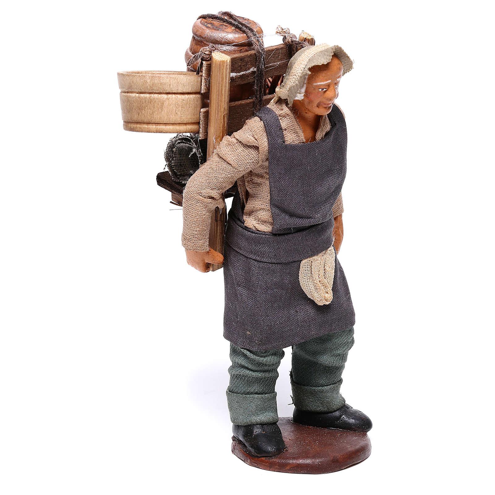 Hombre con barril de vino para belén napolitano 12 cm de altura media 4