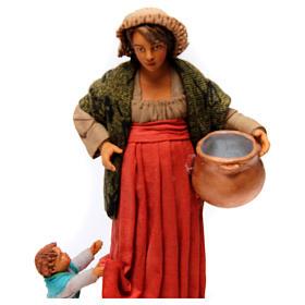 Donna incinta con bambino per presepe napoletano di 30 cm  s2
