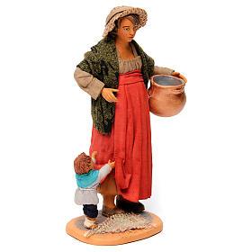 Donna incinta con bambino per presepe napoletano di 30 cm  s4