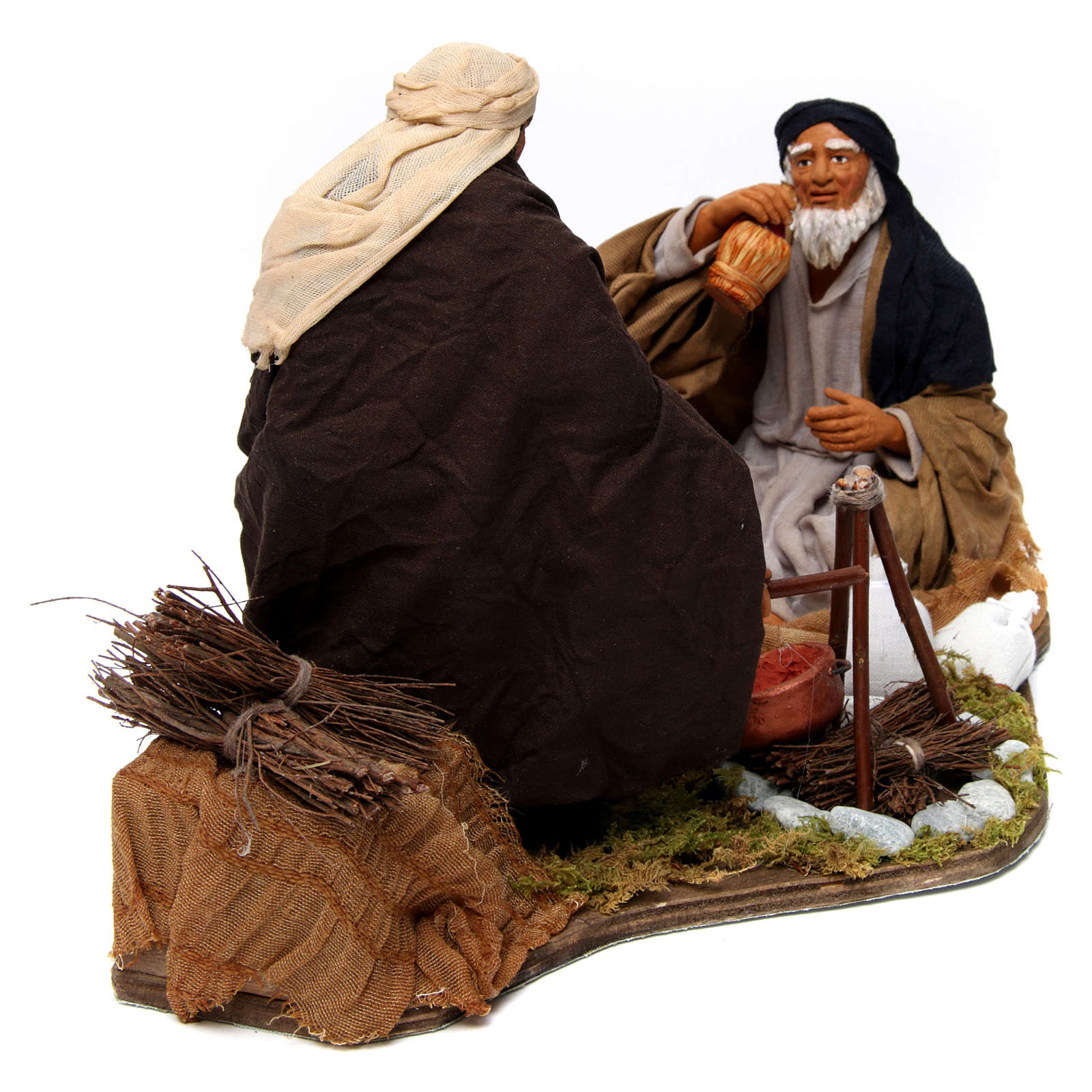 Moving camp with bonfire Neapolitan Nativity Scene 30 cm 4