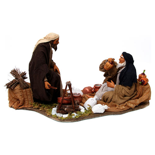 Moving camp with bonfire Neapolitan Nativity Scene 30 cm 1