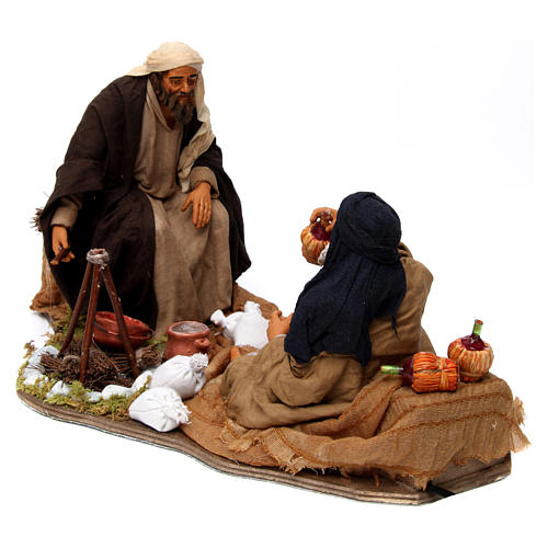 Moving camp with bonfire Neapolitan Nativity Scene 30 cm 3