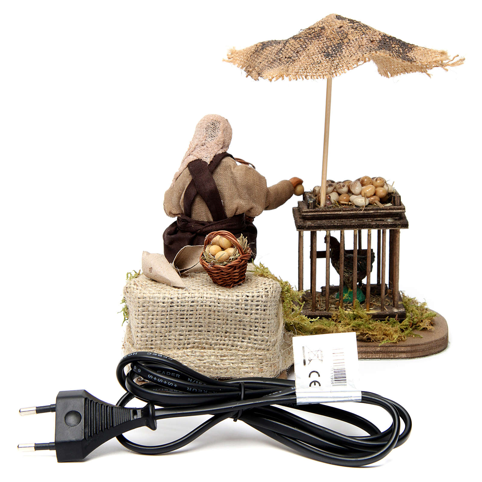 Moving man with basket of eggs and hen Neapolitan Nativity Scene 12 cm 4