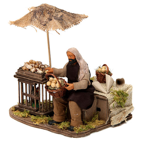 Moving man with basket of eggs and hen Neapolitan Nativity Scene 12 cm 2