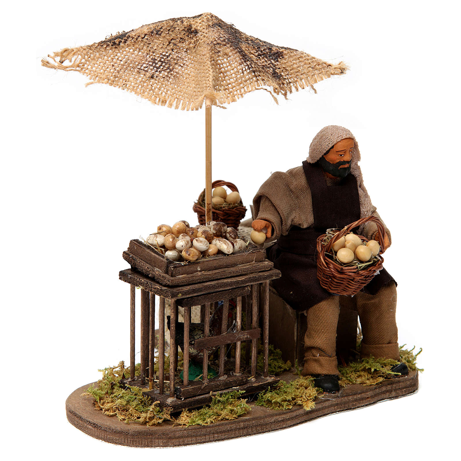 Movimiento hombre con cesta de huevos y gallina belén de Nápoles 12 cm de altura media 4
