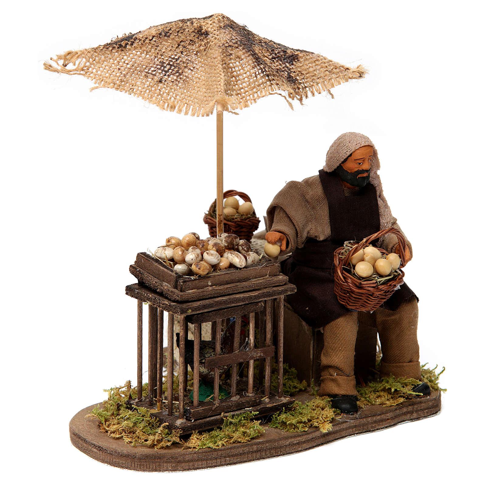 Mouvement homme avec panier d'oeufs et poule en cage pour crèche napolitaine 12 cm 4
