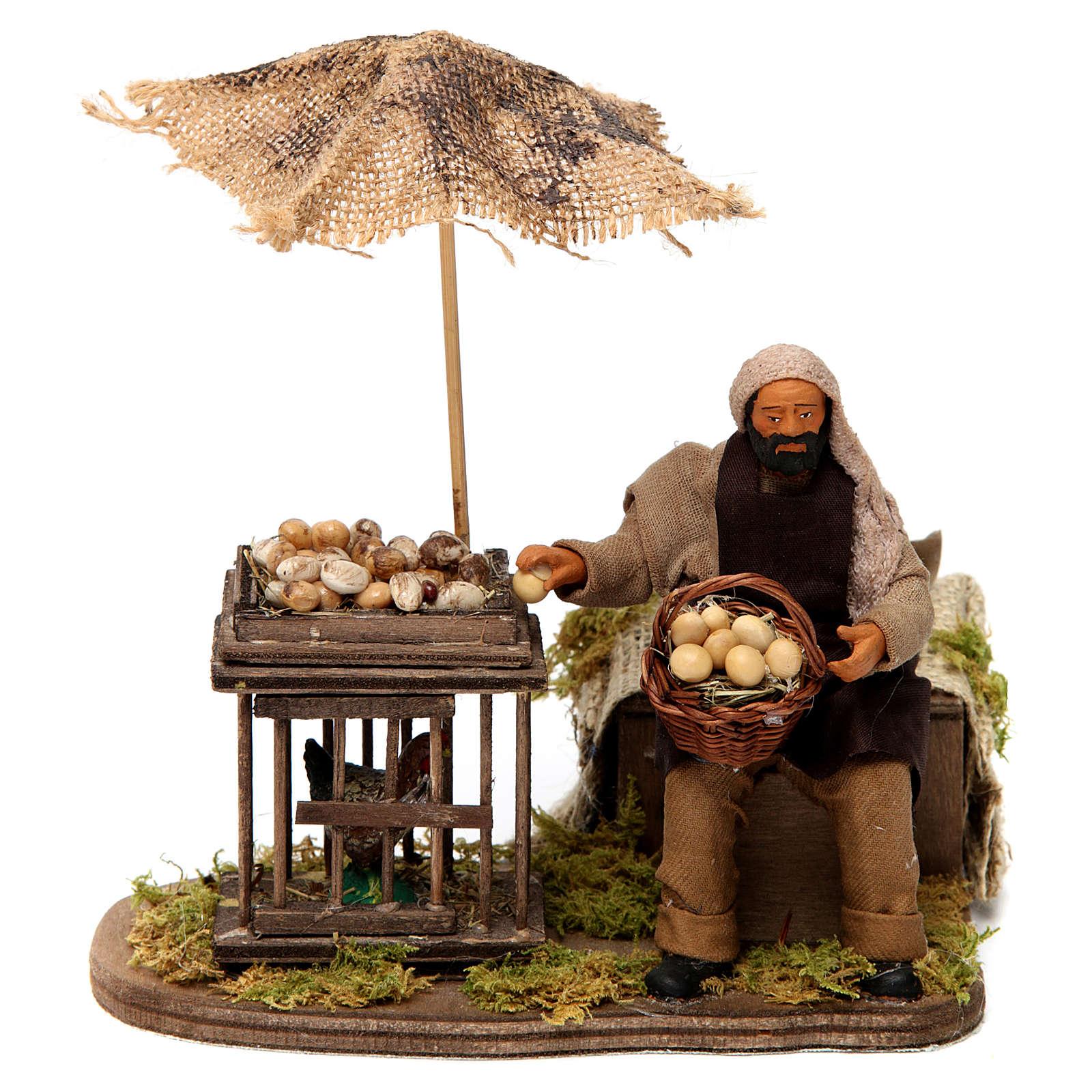 Movimento homem com cesta de ovos e galinha em gaiola presépio de Nápoles 12 cm 4