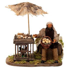 Movimento homem com cesta de ovos e galinha em gaiola presépio de Nápoles 12 cm s1