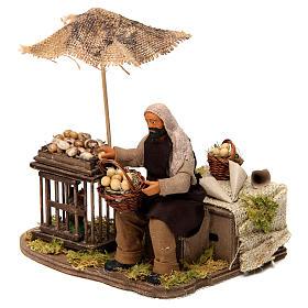 Movimento homem com cesta de ovos e galinha em gaiola presépio de Nápoles 12 cm s2