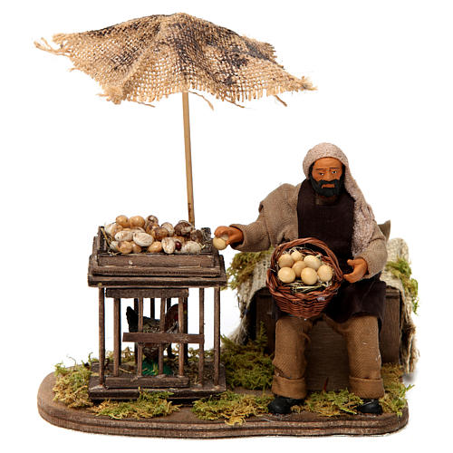 Movimento homem com cesta de ovos e galinha em gaiola presépio de Nápoles 12 cm 1