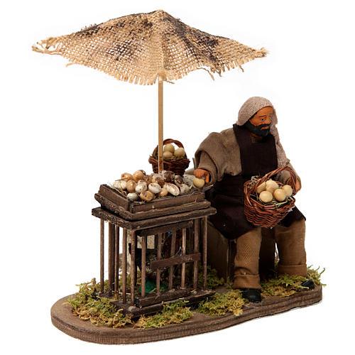 Movimento homem com cesta de ovos e galinha em gaiola presépio de Nápoles 12 cm 3