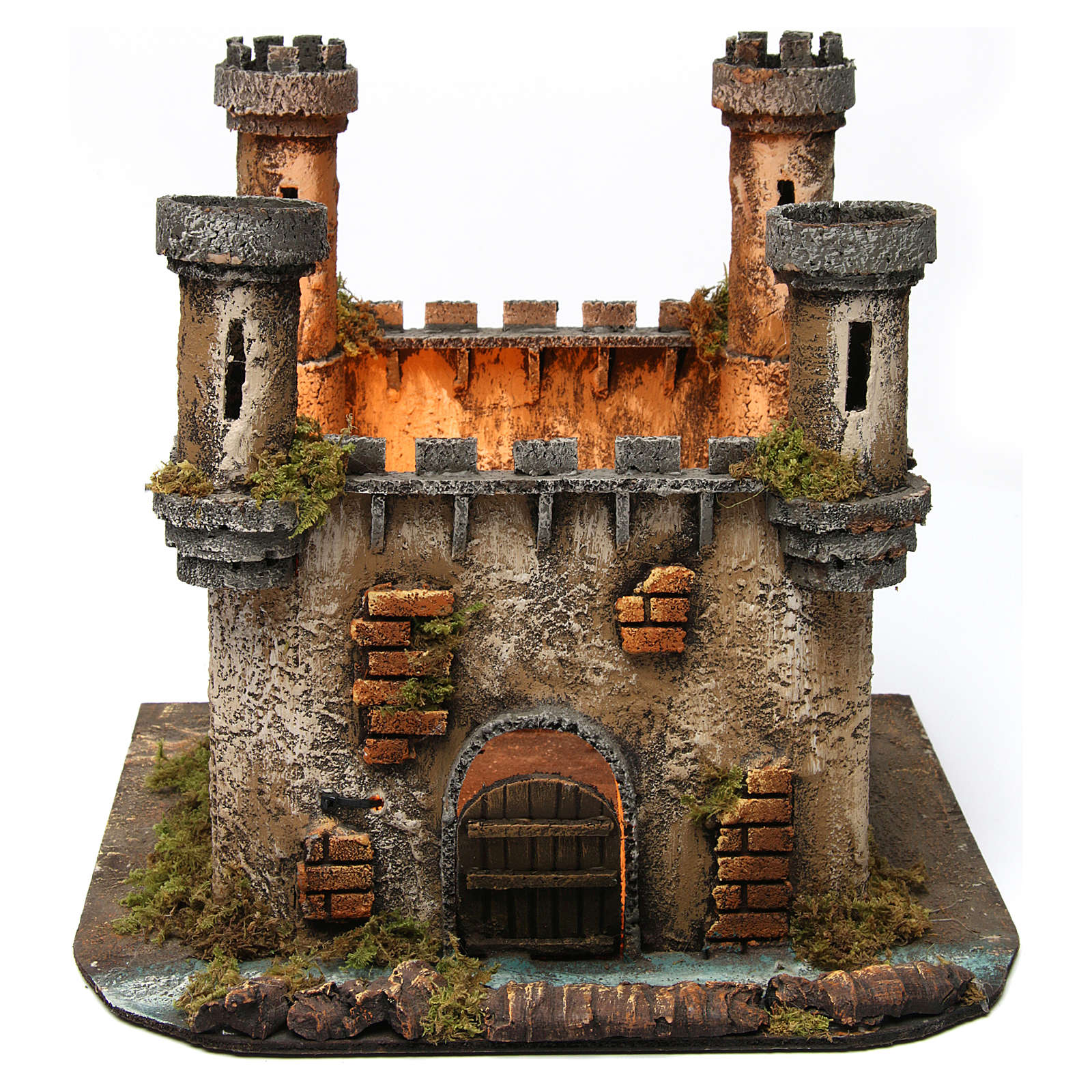 Castillo en Miniatura 4 Torres con Luz para Belén Napolitano 25x30x30 cm 4