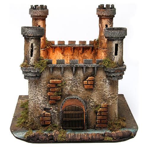 Castillo en Miniatura 4 Torres con Luz para Belén Napolitano 25x30x30 cm 1